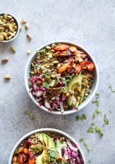 Moroccan Quinoa Bowls with Honey-Harissa Carrots and Chermoula Sauce