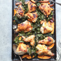 Red Curry Sheet Pan Chicken with Sweet Potatoes and Crispy Kale