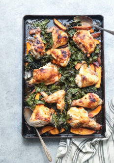 Red Curry Sheet Pan Chicken Recipe with Sweet Potatoes and Crispy Kale | Healthy Easy Dinners | #GlutenFree #Whole30 #Paleo