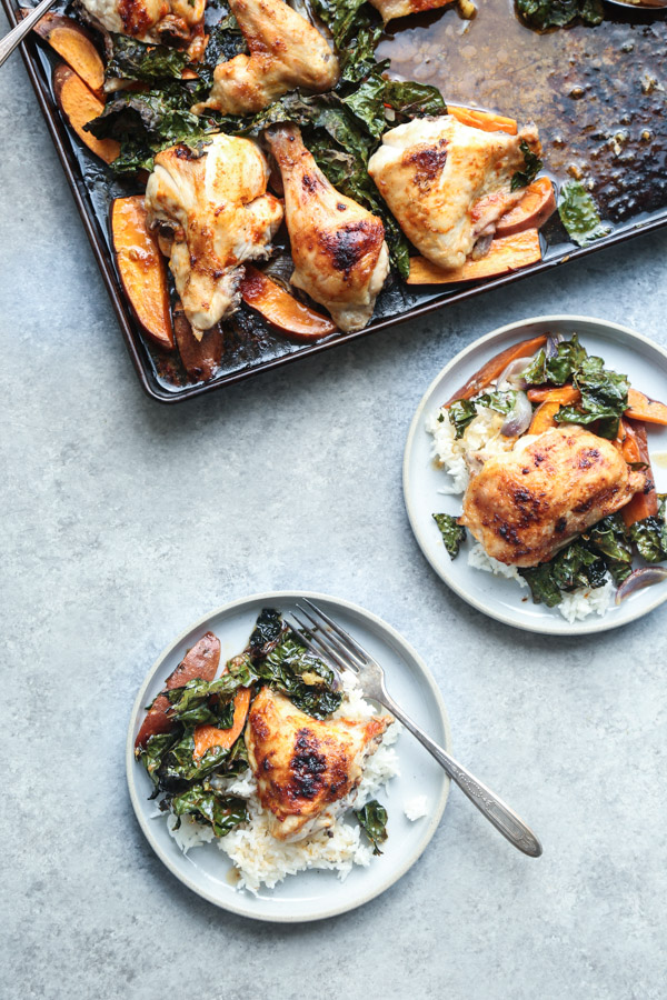 Red Curry Sheet Pan Chicken Recipe with Sweet Potatoes and Crispy Kale   Healthy Easy Dinners   #GlutenFree #Whole30 #Paleo