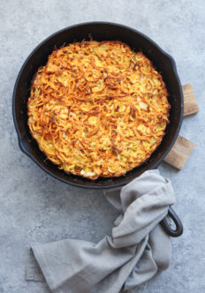 This healthy sweet potato kugel recipe is made gluten-free and paleo with coconut flour. The potatoes and parsnips are also spiralized - so no grating!