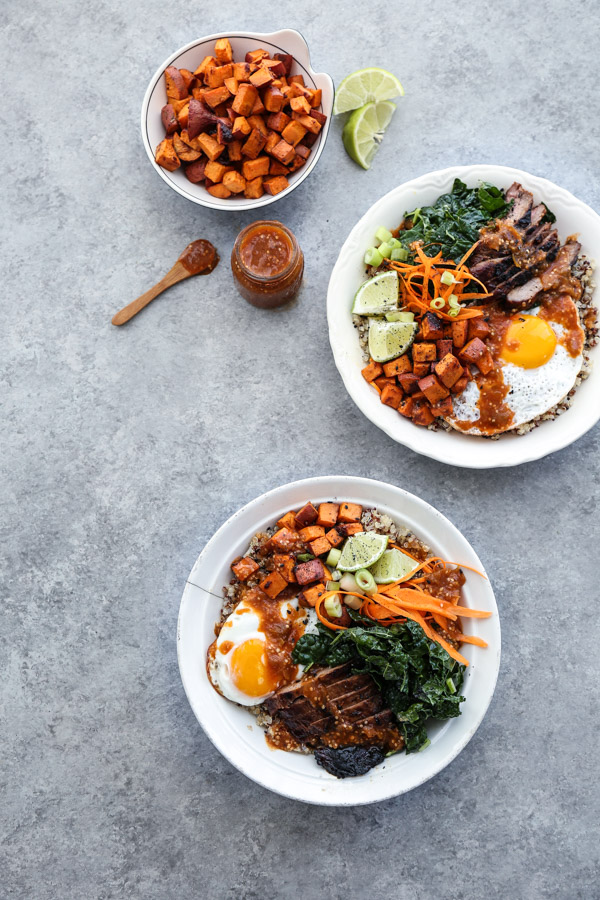 Korean Beef Bibimbap Bowl Recipe with Quinoa, Miso Sweet Potatoes and Gluten-Free Spicy Tomatillo Sauce | This Korean beef bibimbap bowl recipe is packed with healthy vegetables, quinoa instead of rice, and topped with a gluten-free spicy tomatillo sauce.