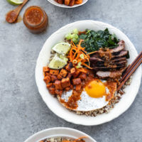 Korean Beef Bibimbap Bowls with Miso Sweet Potatoes and Spicy Tomatillo Sauce