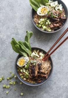 Vegetarian Miso Mushroom Ramen with Bok Choy