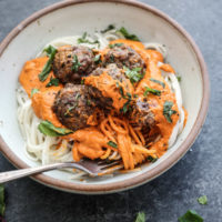 Spaghetti & Moroccan Lamb Meatballs with No-Cook Romesco Sauce