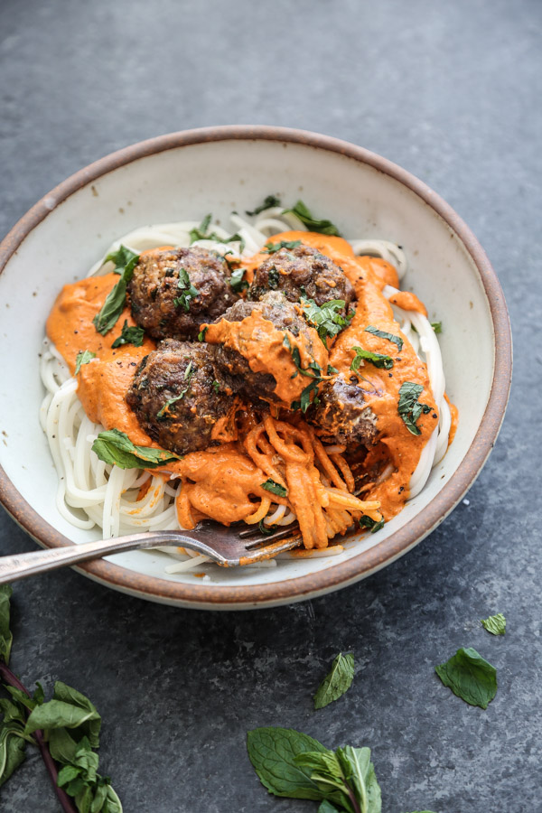 Moroccan Lamb Meatballs with Romesco Sauce and Spaghetti Recipe