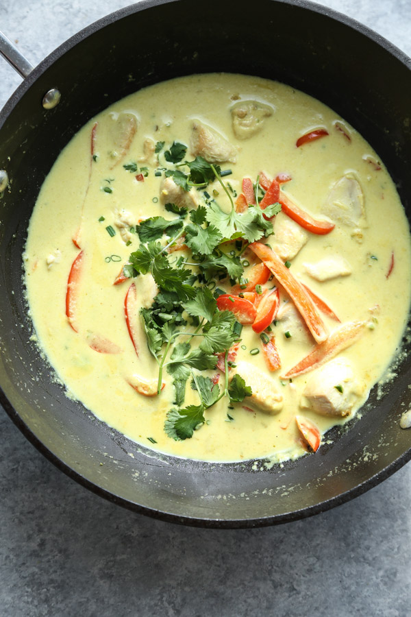 Thai Green Curry Chicken Recipe in a Wok
