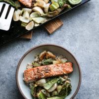 Sesame Sheet Pan Salmon with Turnips and Bok Choy