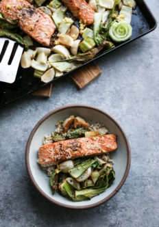 Sesame Sheet Pan Salmon with Turnips and Bok Choy