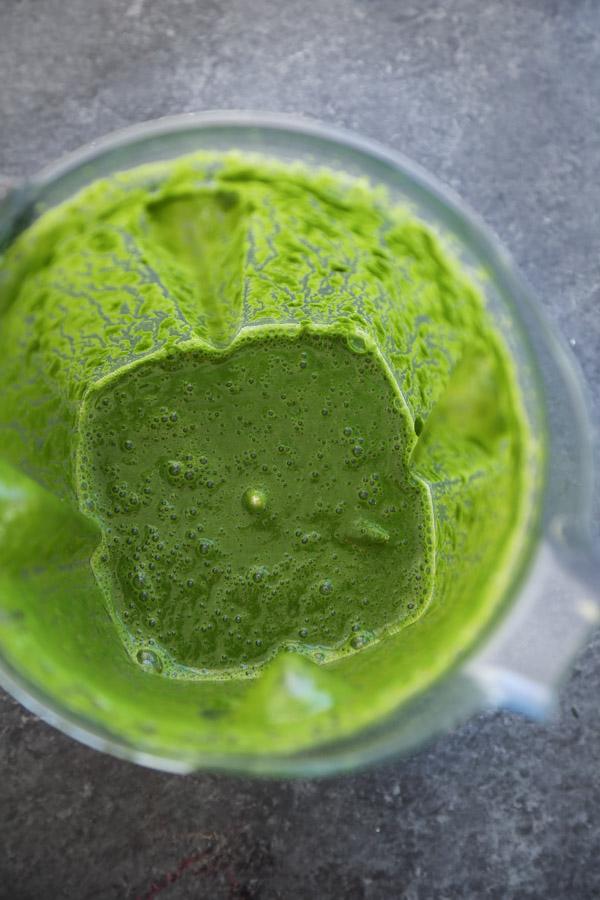 green smoothie in blender