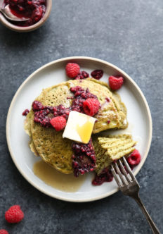Mean Green Matcha Pancakes with Raspberry Compote (Gluten-Free)
