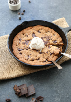 Chocolate Chip Skillet Cookie Recipe in a Cast Iron Pan