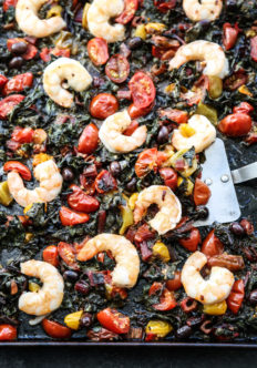 Sheet Pan Shrimp Puttanesca with Cherry Tomatoes and Chard