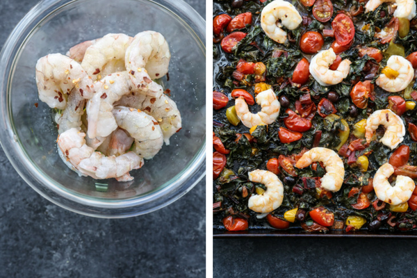 A bowl full of shrimp and a sheet pan full of cherry tomatoes, olives, chard, puttanesca sauce.
