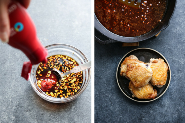 crispy saucy chicken in a cast iron skillet
