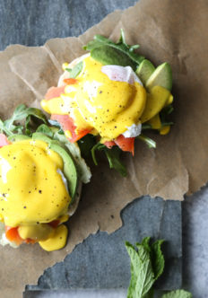 Paleo Eggs Benedict with Smoked Salmon, Avocado and Easy Turmeric-Ghee Hollandaise