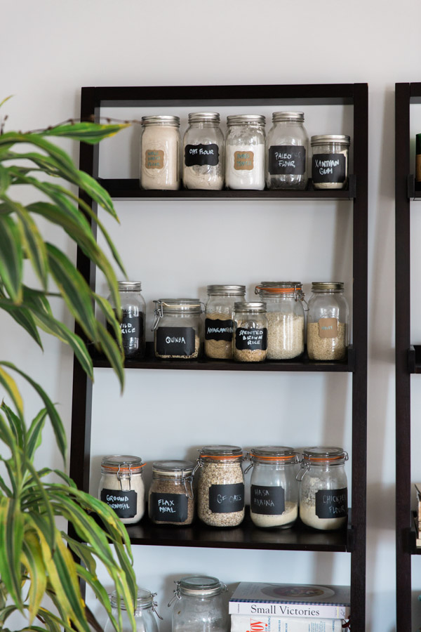 jars on a bookshelf