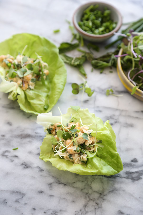chickpea salad in a lettuce cup wrap