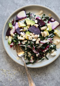 The Best Basic Bitch Kale Salad with Avocado, Beets and Tahini Dressing