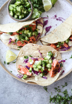 salmon fish tacos on a platter