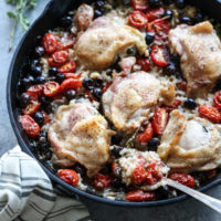 chicken and rice in a skillet casserole dish