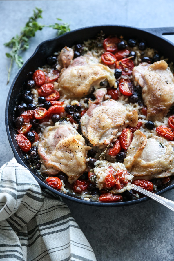 Baked Chicken And Rice Casserole Recipe With Tomatoes And Olives