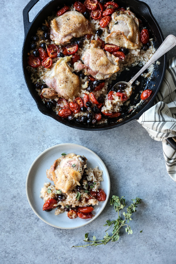 chicken and rice in a skillet and on a plate
