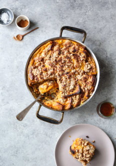 french toast in a casserole pan with pumpkin