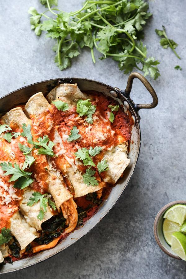 chicken enchiladas in a casserole dish with red sauce