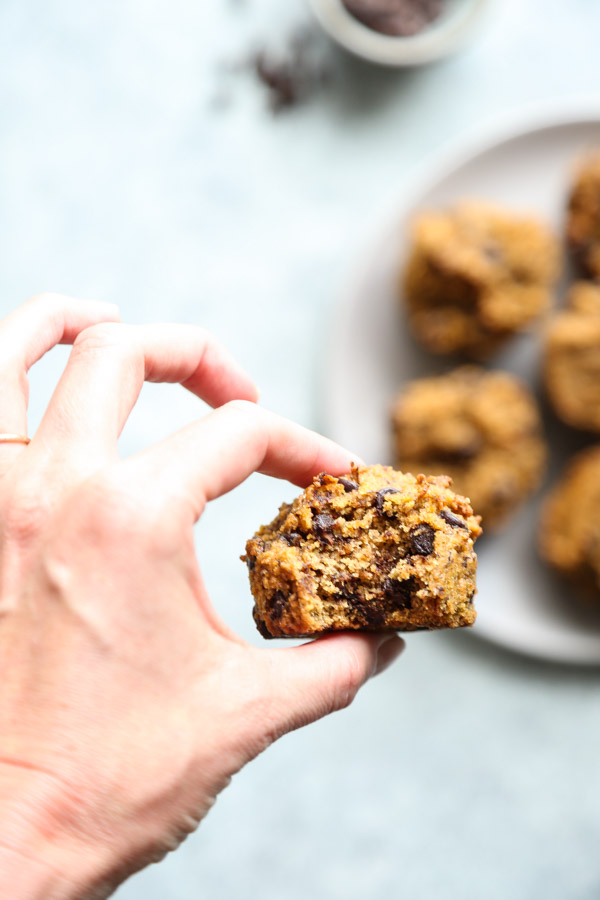 hand holding pumpkin chocolate chip muffins