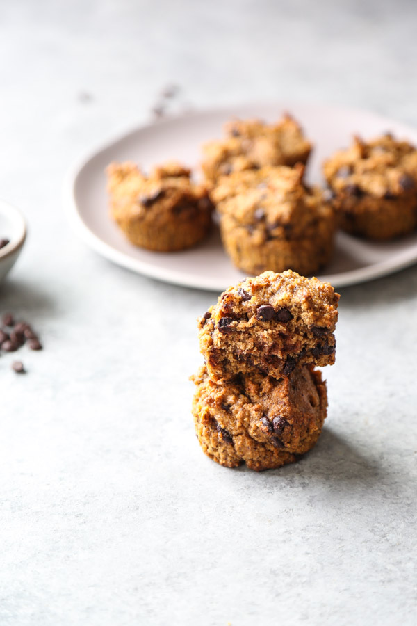 pumpkin chocolate chip muffins on a plate