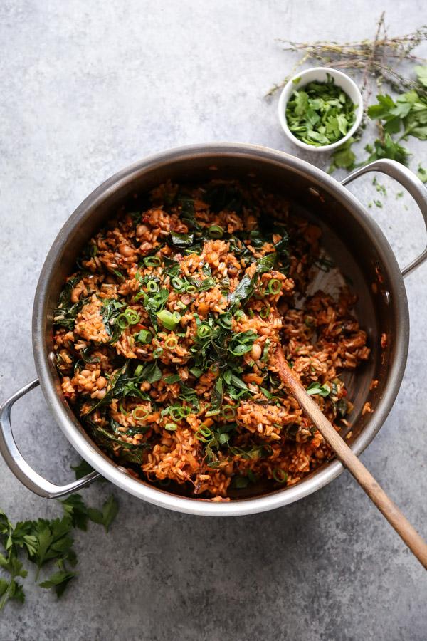 Vegan Jambalaya Recipe With Brown Rice Black Eyed Peas And Collards