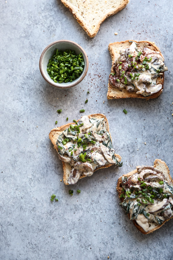 mushrooms on toast with chives