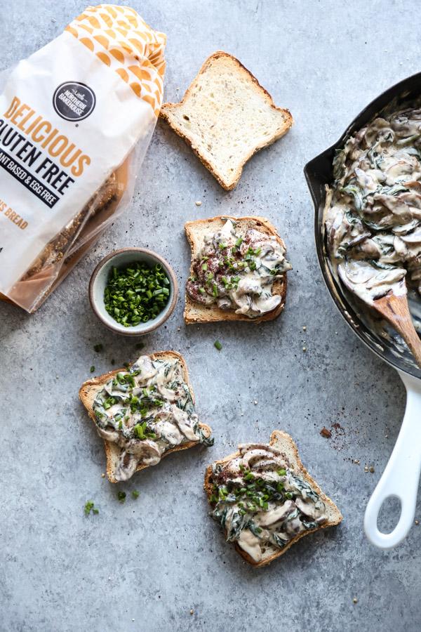 mushrooms on gluten-free Little Northern Bakehouse bread