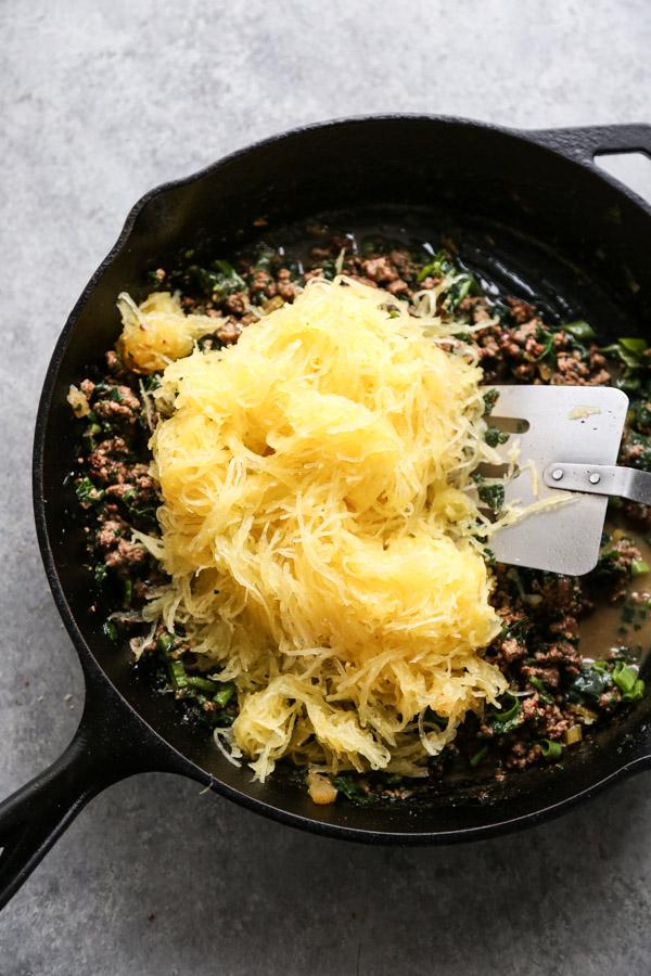 spaghetti squash in a skillet