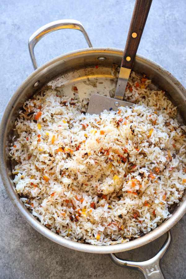 crunchy rice salad in a skillet