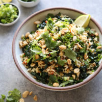 Nam Khao crispy rice salad in a bowl