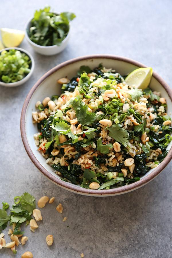 Nam Khao crispy rice salad in a bowl