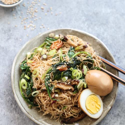 japchae recipe with egg Vegetarian Japchae with Braised Eggs (Korean Sweet Potato Noodles)