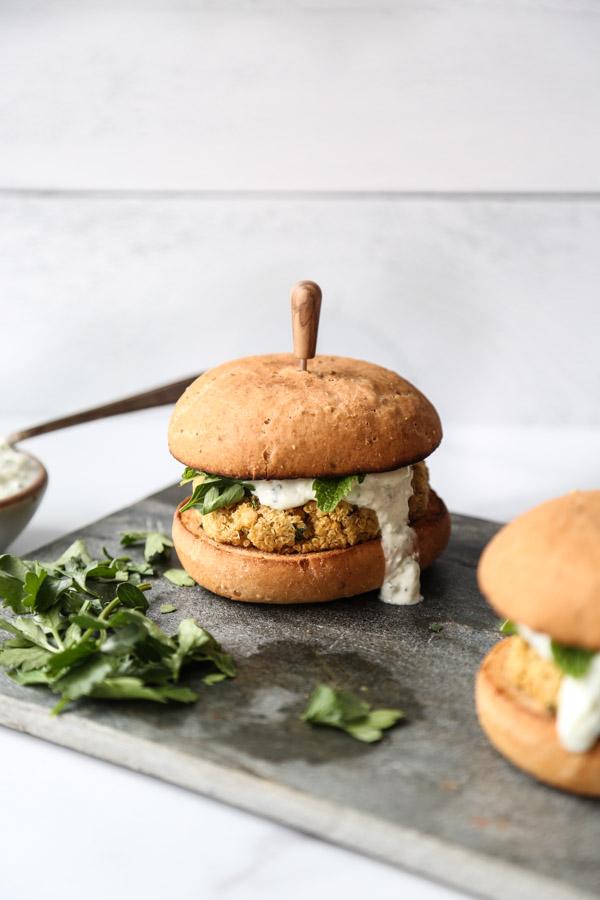 Faux Falafel Quinoa Veggie Burgers With Tzatziki