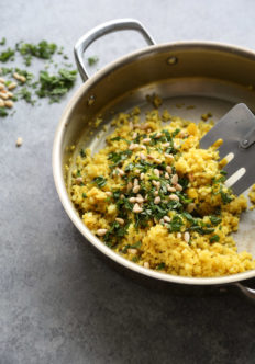 cauliflower couscous in a pan