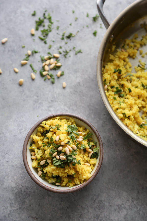 cauliflower couscous in a bowl