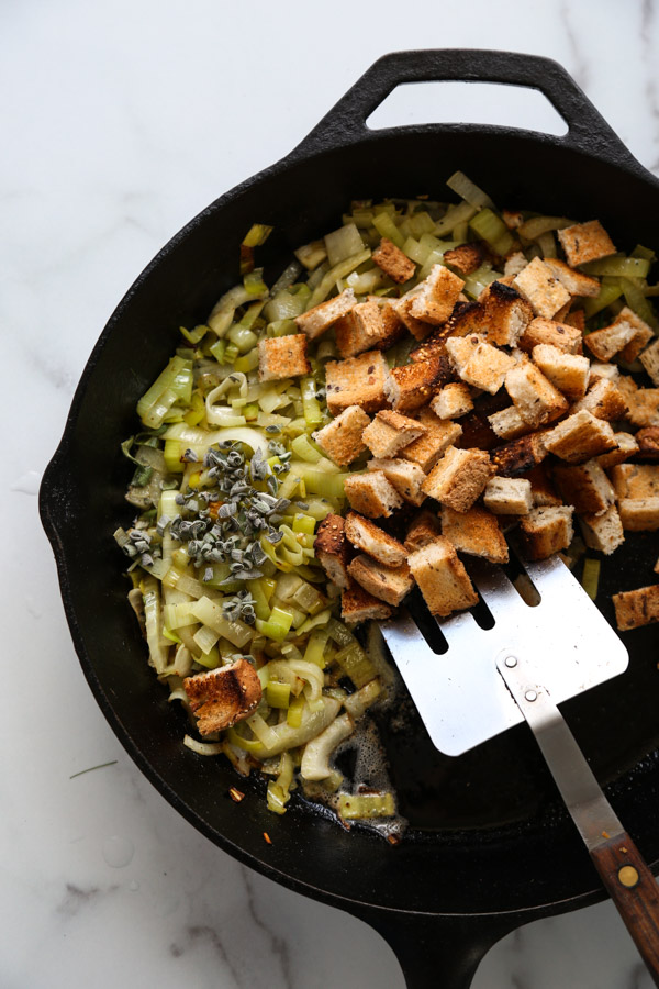 Stuffing in a cast iron pan