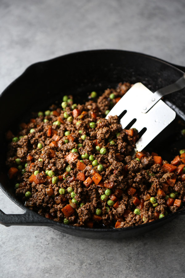 ground lamb for shepherd's pie in a skillet
