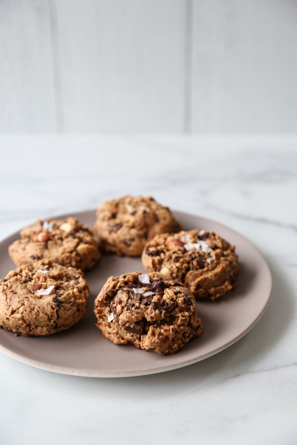 vegan chocolate chip cookies on a plate