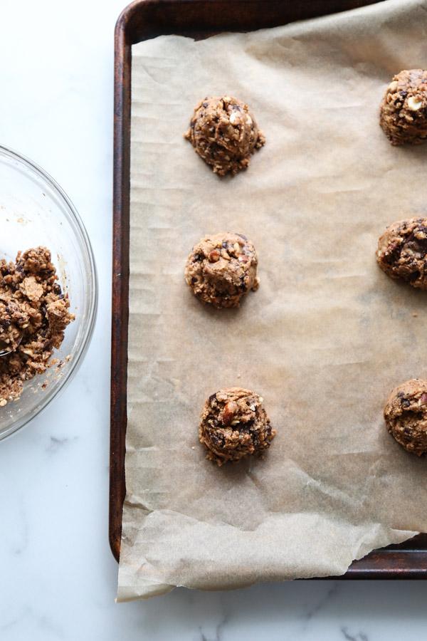 vegan chocolate chip cookie dough on a sheet pan