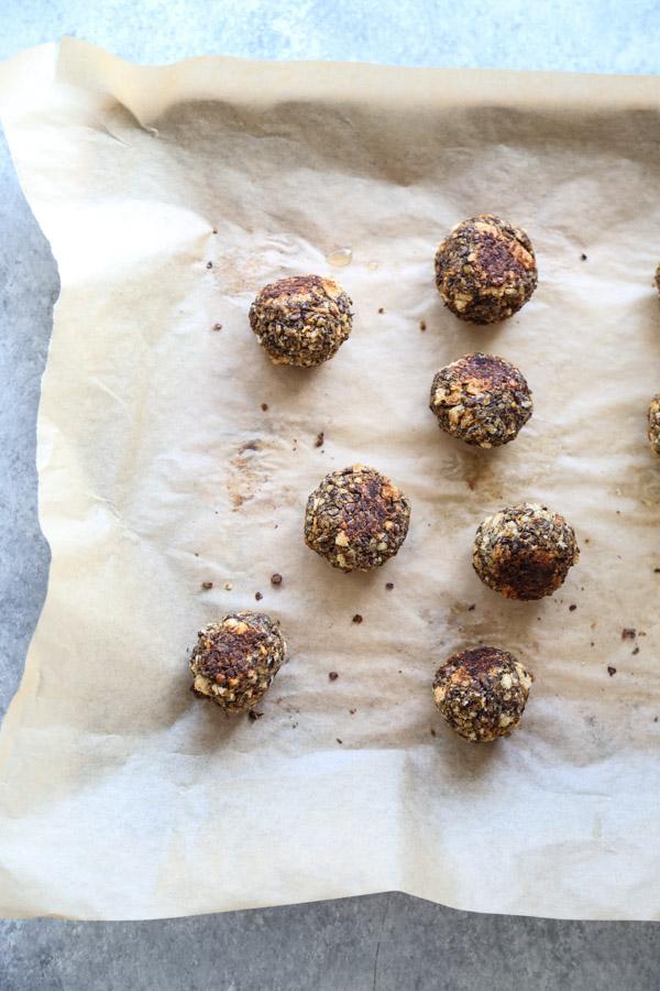vegan meatballs on a sheet pan