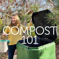 Aerobin compost system in a garden