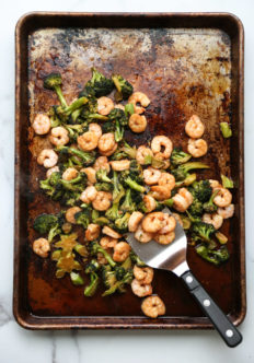 Chinese shrimp and broccoli on a sheet pan
