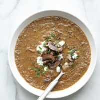 vegan cream of mushroom soup in a bowl